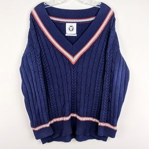 Urban Outfitters | Navy Knit V-Neck Sweater